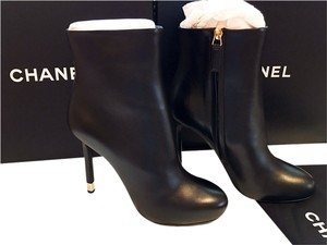 Chanel Short Ankle Metal Heels Size 37.5 Black Boots