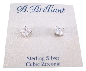 B. Brilliant Sterling Silver Earrings, Square Shape