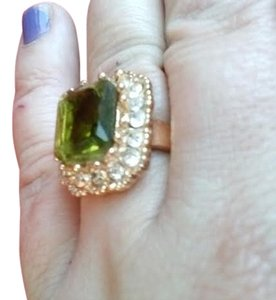 Sale! Chunky Green Quartz Crystal On 14 kt Gold Filled Cocktail Ring in Box