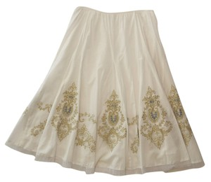 Peter Nygard Cotton Full Lawn Embroidery Skirt White