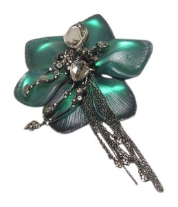 Alexis Bittar Alexis Bittar Black Forest Green Lucite & Crystal Lace Tassel Pin