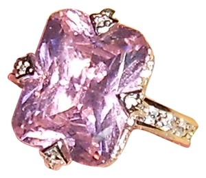 Large Pink Stone 925 Sterling Silver Ring Cz