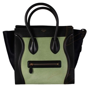 Céline Pony Fur Mini Luggage Large Leather Tote in Green