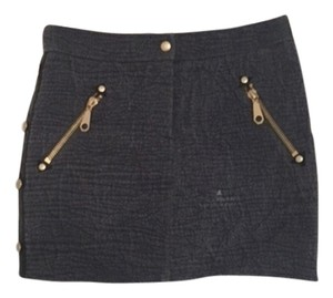 Rebecca Minkoff Gray Lambskin Leather Gold Blue Mini Mini- Winter Designer Mini Skirt Slate