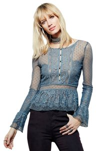 Free People Green Grey Lacy Bohemian Penelope Peplum Top