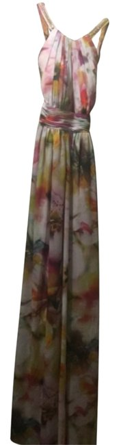 Item - White with Print Pink and Yellow Long Formal Dress Size 0 (XS)