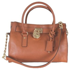 Michael Kors Mk Leather Tote in Camel Brown