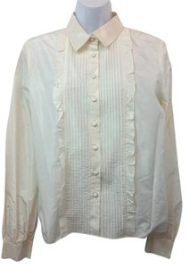 Oscar de la Renta Pink Label Silk Taffeta Blouse Button Down Shirt WHITE