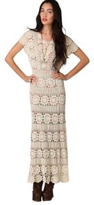 Cream Maxi Dress by Free People Crochet Maxi