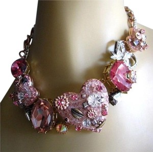 Betsey Johnson Vintage crystal heart statement necklace