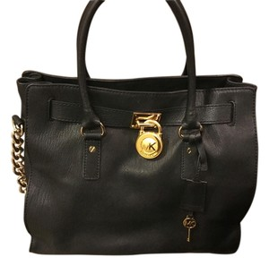 Michael Kors Mk Hamilton Saffiano Tote Satchel in Black - Gold Hardware
