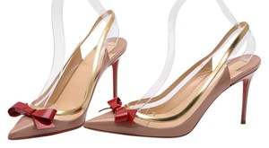 Christian Louboutin Nude/Red Bow/Gold trim Pumps