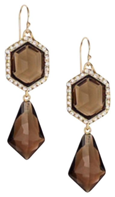 Item - Smoke Brown & Gold Dazzeling Citrine Drop Earrings