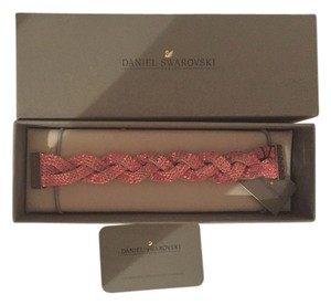Swarovski Swarovski braided crystal bracelet on pink leather with silver clasp