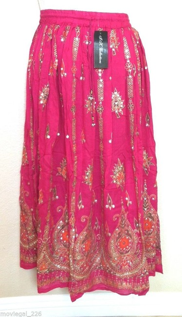 IK Collections Maxi Skirt Pink Image 9