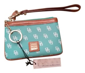 Dooney & Bourke Leather Wristlet in Seafoam