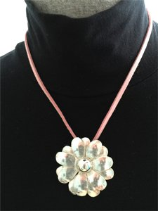 Other Sterling Silver Flower on Pink Suede Necklace