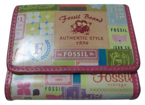 Fossil Vintage Leather Colorful Logo'd Wallet 1954