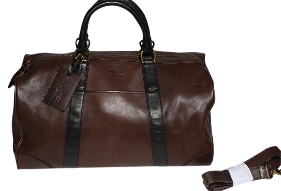 Polo Ralph Lauren   Two-toned Leather Duffel Brown Weekend Travel ... 6c344c55824a2