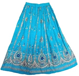 IK Collections Boho Broomstick Hippie Maxi Skirt Bllue