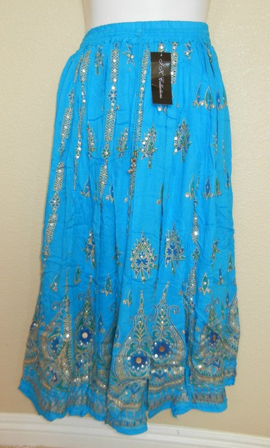 IK Collections Boho Broomstick Hippie Maxi Skirt Bllue Image 2