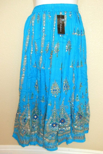 IK Collections Boho Broomstick Hippie Maxi Skirt Bllue Image 6