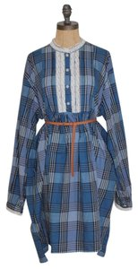 Victoria's Secret short dress BLUE Plaid Shirt Country Peasant on Tradesy