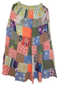 India Hippie Broomstick Maxi Skirt Multicolor