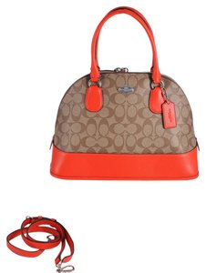 Coach Satchel in Khaki/Orange