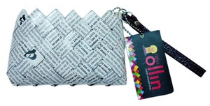 Nahui Ollin NEW Nahui Ollin Arm Candy White Black Newspaper Print Small Wristlet Clutch
