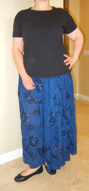 Alyne by Rita Vinieris Hippie Broomstick Vintage Maxi Skirt Blue