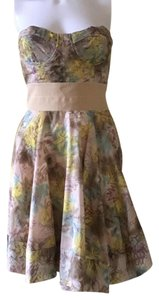 Elizabeth and James short dress Watercolor Summer Strapless Silk + Floral on Tradesy