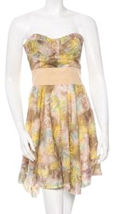 Elizabeth and James short dress Watercolor Summer Strapless Silk on Tradesy