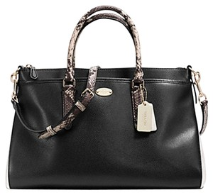 Coach Morgan Leather Two-tone Satchel in LIGHT GOLD/DARK NAVY/WHITE