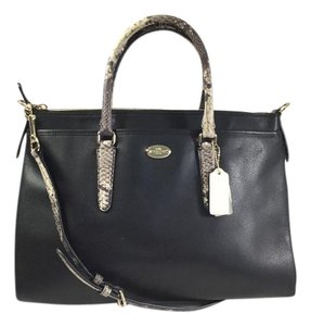 Coach Leather Two Tone Satchel in Black