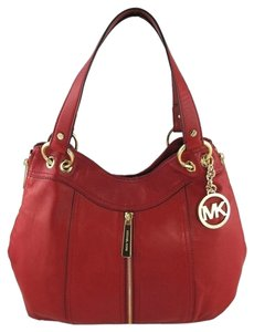 Michael Kors Moxley Leather Zipper Mk Shoulder 889154938847 35h5gmxe2l Tote in Red