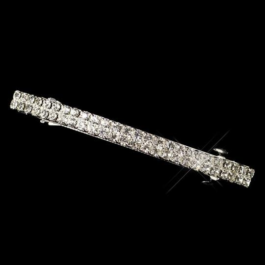Dazzling 2 Row Double Rhinestone Wedding Bridal Barrette - Special Occasion Prom Party