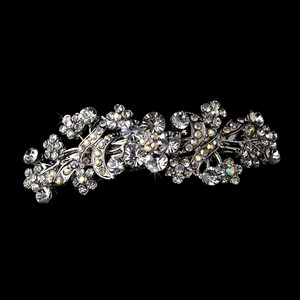 Silver with Ab Crystals Colorful Floral Rhodium Barrette - Special Occasion Prom Party Hair Accessory