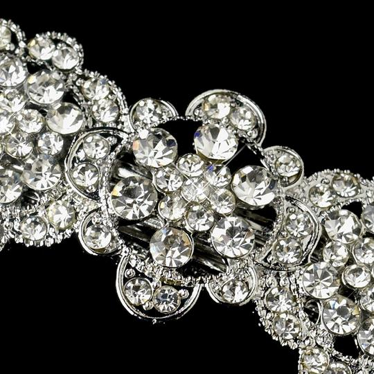 Silver Antique Vintage Floral Barrette - Special Occasion Prom Party Hair Accessory