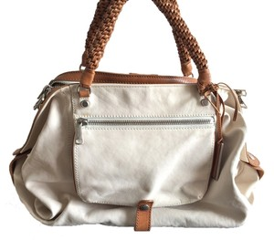 Joy Gryson Leather Woven Satchel In White Brown