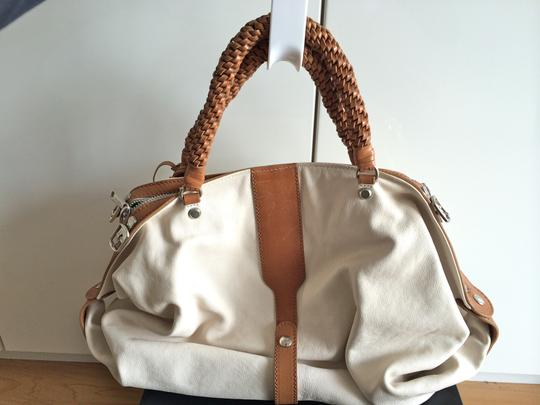 Joy Gryson Leather Woven Satchel in White/Brown