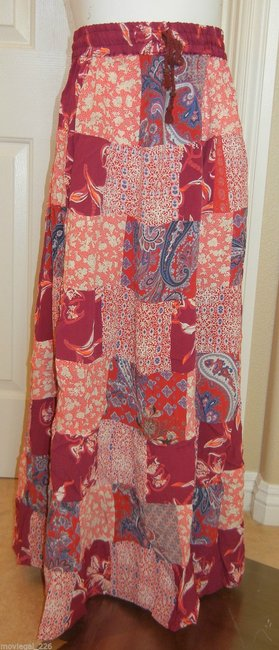 Other Boho Broomstick Long Gypsy India Maxi Skirt Red Image 1