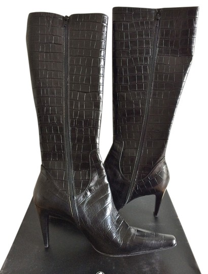 Classiques Entier Crocodile Embossed Knee-high Leather Italian Black Boots