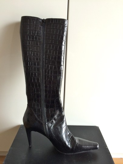 Classiques Entier Crocodile Embossed Knee-high Leather Italian Black Boots Image 1
