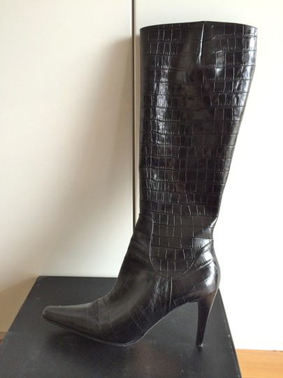 Classiques Entier Crocodile Embossed Knee-high Leather Italian Black Boots Image 2