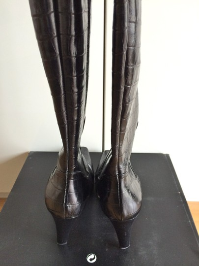 Classiques Entier Crocodile Embossed Knee-high Leather Italian Black Boots Image 4