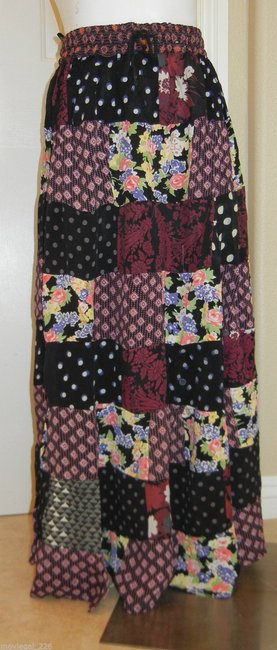 Other Boho Bohemian Hippie Gypsy Broomstick Maxi Skirt Black Image 1