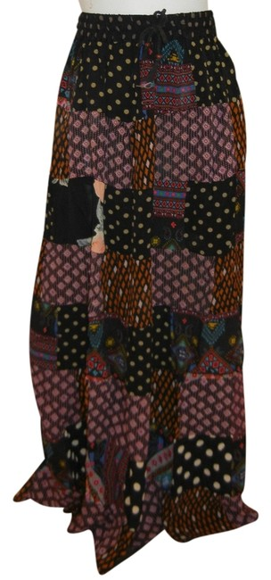Other Patchwork Broomstick Hippie India Gypsy Maxi Skirt Black