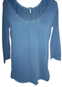 Faded Glory 100% Cotton 3/4 Sleeves Lace Insert Button Tunic