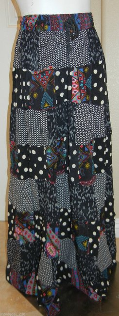 Other Bohemian Broomstick India Hippie Gypsy Maxi Skirt Black Image 4